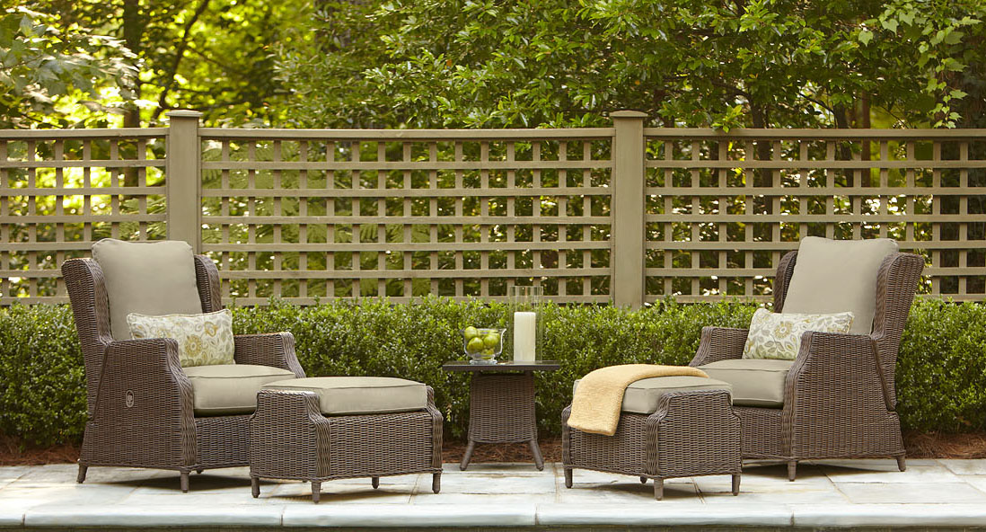 Brown vineyard patio furniture brown outdoor furniture for Belmont brown wicker patio chaise lounge